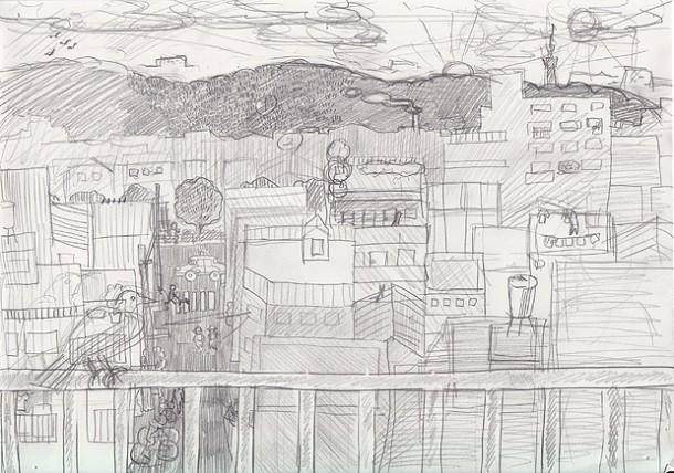 小石川植物園を望む(下描き)