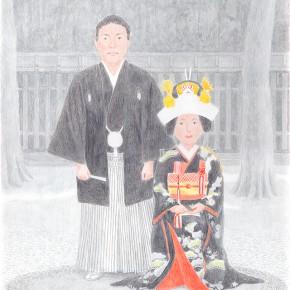 課題「男と女」神前婚のイラストレーション
