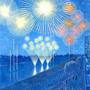 夏のイラストレーション「花火大会」