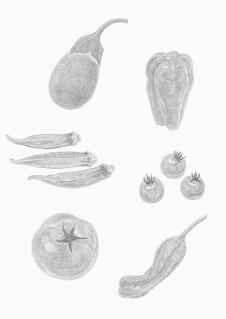 白黒カット 野菜1