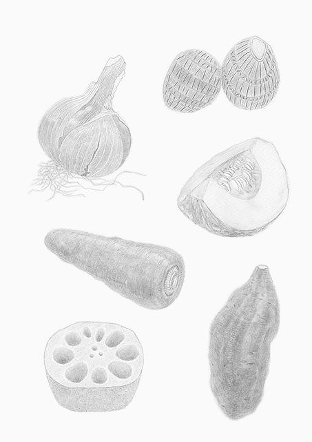 白黒カット 野菜2