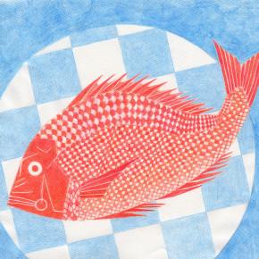 鯛と市松模様の大皿