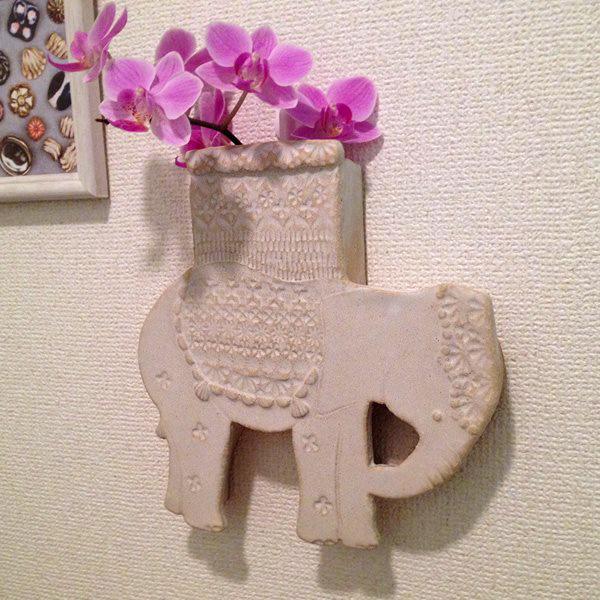 象の花器白