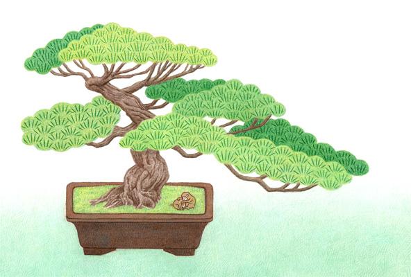 年賀状素材/盆栽