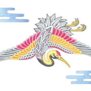 ギャラリーショップ TSURUTOブランドイメージとして鶴のイラストレーションを担当