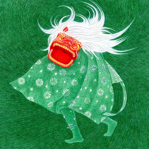 お正月イラストレーション 獅子舞