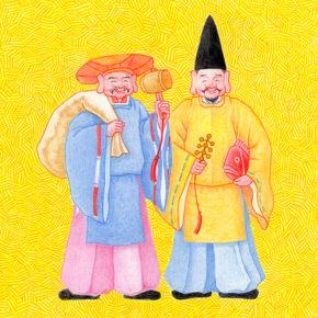お正月年賀状イラストレーション 大黒様と恵比寿様