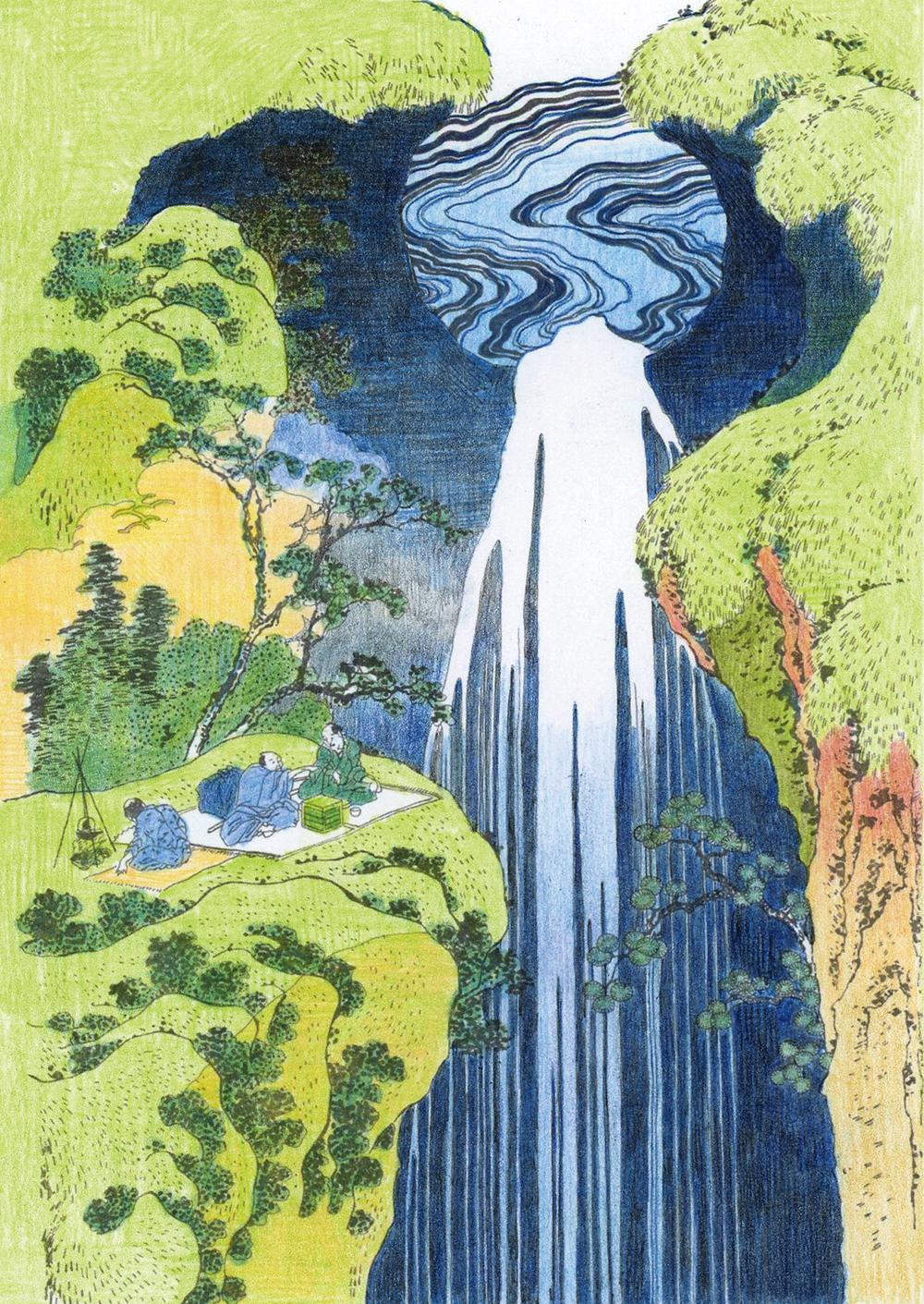 家の光2019年7月号付録塗り絵「木曽路ノ奥阿弥陀ヶ瀧」