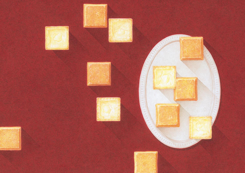 資生堂パーラー2019秋冬総合カタログ表紙 チーズケーキイラストレーション 表紙