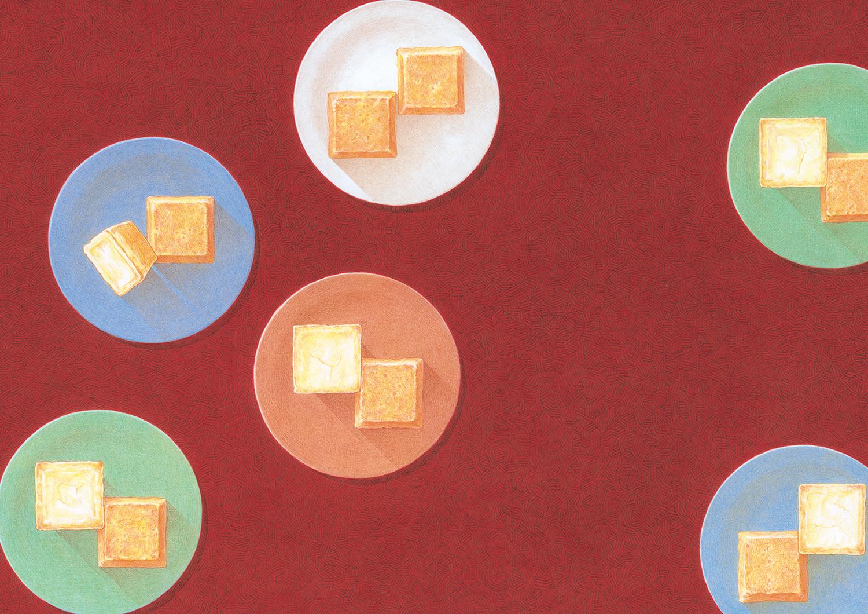 資生堂パーラー2019秋冬総合カタログ表紙 チーズケーキイラストレーション 中表紙