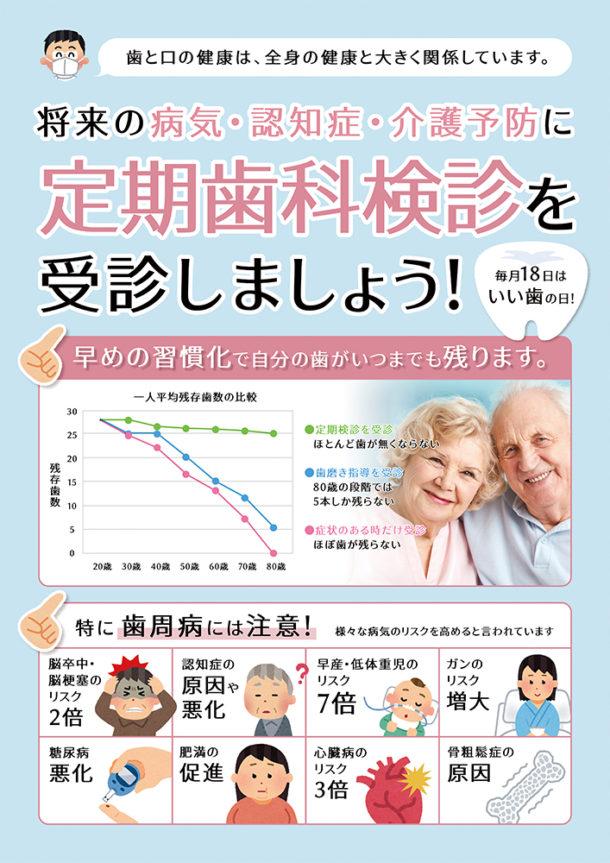 歯科医院ポスター「お口の値段は1,000万円、定期歯科検診を受診しましょう」
