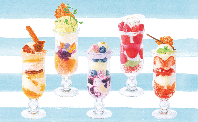 資生堂パーラー サロン・ド・カフェ ラゾーナ川崎店の店頭ディスプレイ用イラストレーション
