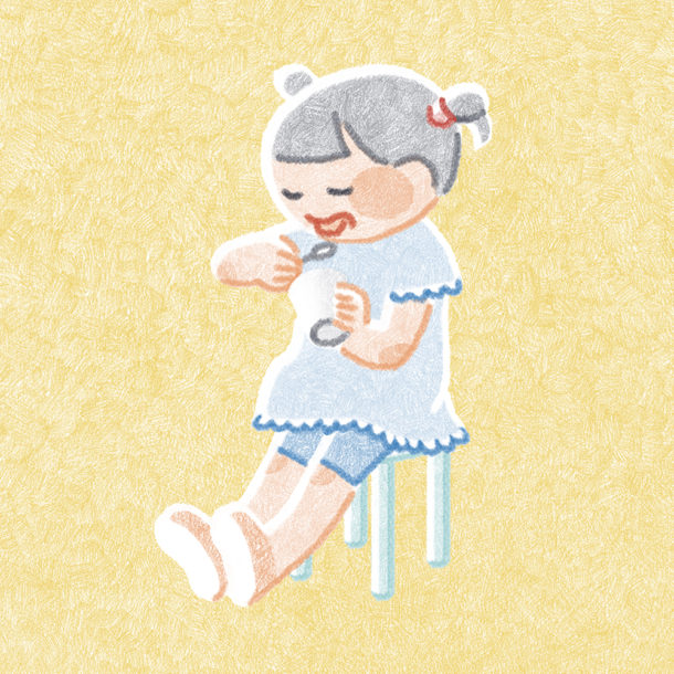 アイスクリームを食べる女の子(オリジナル)